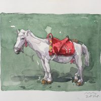 马力-Ma-Li-(马No.3-Horse-No.3)纸本水彩-Watercolour-on-Paper13.5x-10cm2014